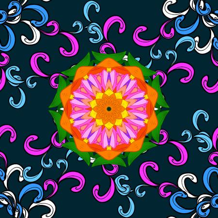 Bohemian decorative element, Indian henna design, vector retro circle ornament. Mandala, tribal vintage sketch with a medallion on blue background.