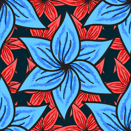 Leaf natural pattern in blue colors. Summer design. Seamless floral pattern can be used for sketch, website background, wrapping paper. Vector flower concept. Illustration