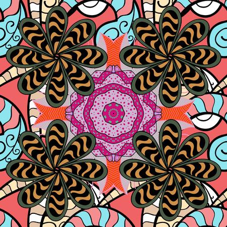 kundalini: Abstract Mandala. Islam, Arabic, Indian, turkish, pakistan, chinese, ottoman motifs. Vector illustration. Vintage decorative elements. Oriental colored pattern on white background.