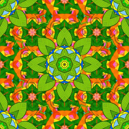 Boho style flower seamless pattern. Vector Mandala design. Illustration