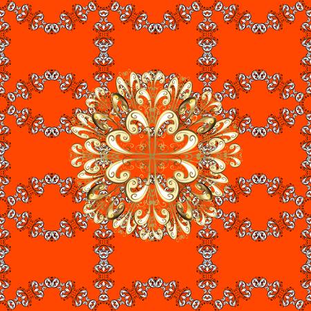 oriental vector: Seamless golden textured curls. Orange background with golden elements. Oriental style arabesques. Vector golden pattern. Vector illustration.