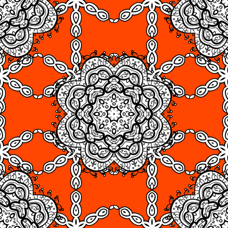 lace pattern: Ornamental lace tracery. Traditional arabic decor on orange background. Vintage design element in Eastern style. White ornate illustration for sketch. Vector seamless pattern with floral ornament.