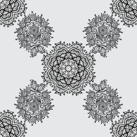 Ornate decoration. Vector vintage baroque floral seamless pattern in white. White pattern on a gray background with white elements. Luxury, royal and Victorian concept.
