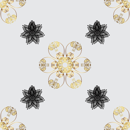 gold textured background: Gray background with golden elements. Seamless oriental ornament in the style of baroque. Traditional classic vector golden seamless pattern. Illustration