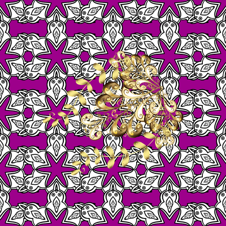 oriental vector: Vector oriental ornament. Seamless pattern on magenta background with golden elements and with white doodles. Seamless Golden pattern.