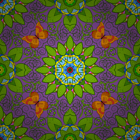 superlative: Abstract Mandala on a violet background. Vector illustration. Illustration