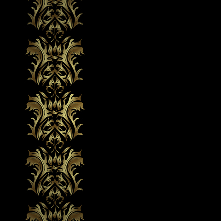 oriental vector: Vector abstract background with repeating elements on black background. Vector illustration. Seamless oriental classic golden pattern.