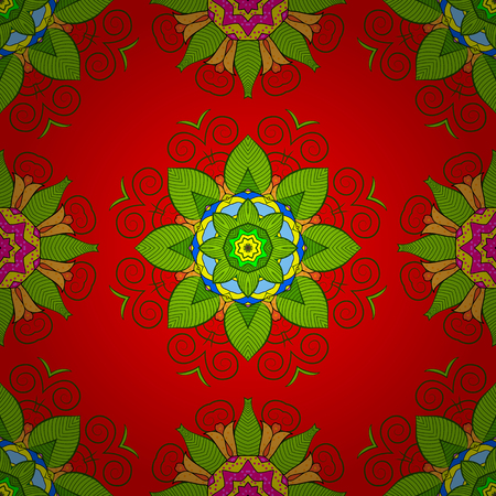 oriental vector: Decorative round ornament. Anti-stress therapy pattern. Yoga logo, background for meditation poster. Vector outline Mandala on red background. Weave design element. Unusual flower shape oriental line.