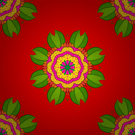 elaborate: Weave design element. Yoga logo, background for meditation poster. Decorative round ornament. Unusual flower shape oriental line. Anti-stress therapy pattern. Vector outline Mandala on red background.