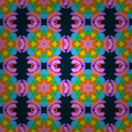 개요. 벡터 파란색 배경에 민족적인 만다라 장식으로 원활한 패턴을 낙서.