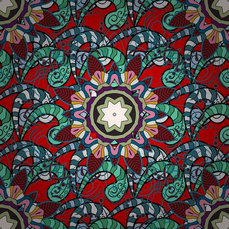 oriental vector: Flower Mandala seamless pattern. Vector Ethnic Oriental Circle Ornament. Islam, Arabic, Indian, ottoman motifs on a blue background. Illustration