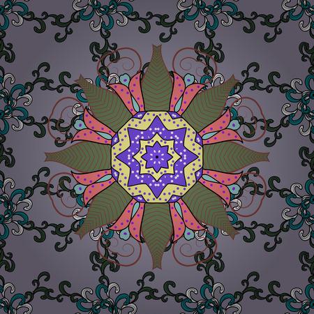 Rich ethnic striped seamless pattern geometric design. Vector illustration. Mandala style. Colored mandala on blue background.