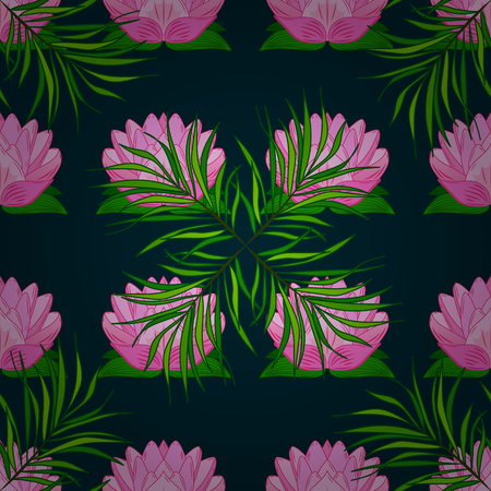 Hand drawn floral texture, blue decorative flowers. Vector seamless colorful floral pattern.
