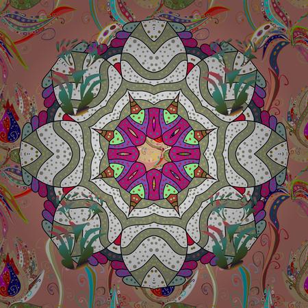 White background. Vector ethnic mandalas, doodle background circles. Illustration