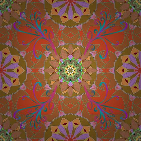 Vintage vector pattern. Colored over purple. Decorative ornate round mandala. Invitation, wedding card, scrapbooking. Colored stickers, flash temporary tattoo, mehndi and yoga design, magic symbol. Illustration