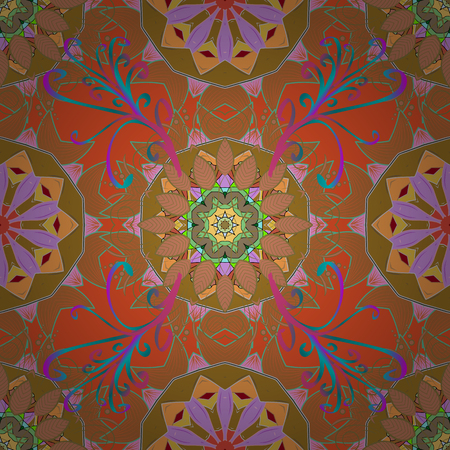 superlative: Vintage vector pattern. Colored over purple. Decorative ornate round mandala. Invitation, wedding card, scrapbooking. Colored stickers, flash temporary tattoo, mehndi and yoga design, magic symbol. Illustration