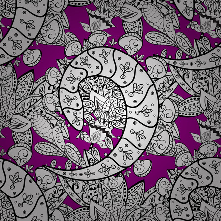 Damask seamless repeating pattern. White element on magenta background. White floral ornament in baroque style. Antique whiteen repeatable sketch.