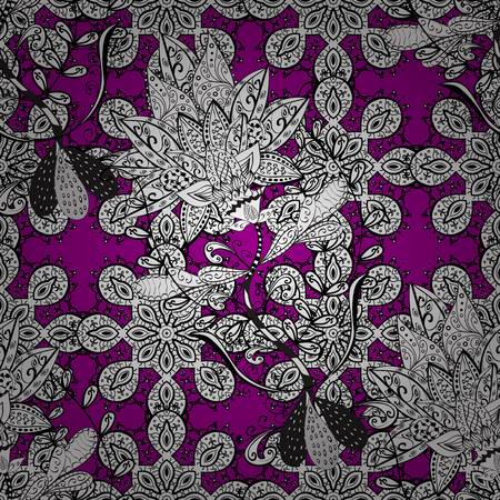 oriental vector: White pattern on magenta background with white elements. Seamless pattern oriental ornament. Vector white textile print. Islamic design. Floral tiles.