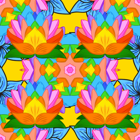 Floral seamless pattern with bright summer flowers in yellow colors. Endless vector texture for romantic design, decoration, greeting cards, posters, wrapping, for textile print and fabric.