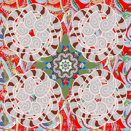 linearity: Mandala colored, tribal vintage background with a medallion. Illustration