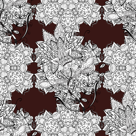 Vintage seamless pattern on a brown background with white elements. Christmas 2018, snowflake, new year.