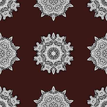 White color seamless illustration. For your design, sketch. Vector geometric background. White seamless pattern on brown background with white floral elements. Illustration