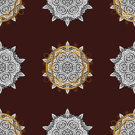 Vector golden pattern. Seamless golden textured curls. Oriental style arabesques. Golden pattern on brown background with with white doodles.
