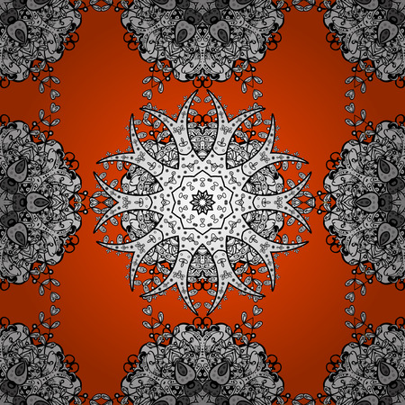Damask seamless pattern for design. Vector seamless pattern on orange background with white elements.
