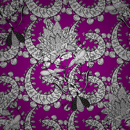 Magenta background with white elements. Oriental style arabesques. Vector white pattern. Vector illustration. Seamless white textured curls.