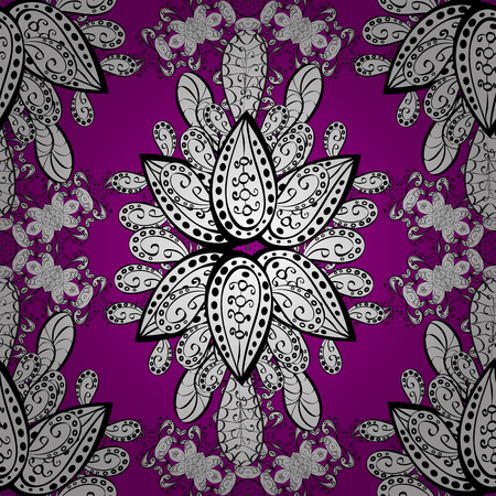 Classic vintage background. Traditional orient ornament. White pattern on magenta background with white elements. Seamless classic vector white pattern. Illustration