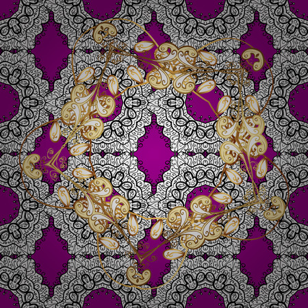 gold textured background: Golden pattern on magenta background with golden elements. Ornate vector decoration. Seamless damask pattern background for sketch design in the style of Baroque.