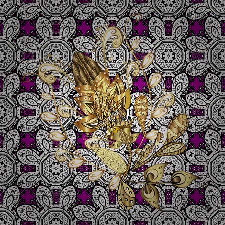 Ornate decoration. Vector illustration. Damask golden floral pattern on a magenta background with white doodles. Illustration