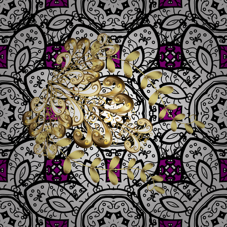 tillable: Gold magenta floral ornament in baroque style. Damask seamless pattern repeating background. Golden element on magenta background. Antique golden repeatable sketch. Illustration