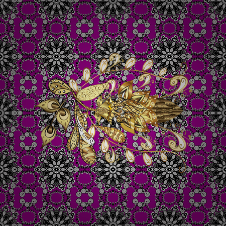 Seamless golden textured curls. Oriental style arabesques. Vector golden pattern. Golden pattern on magenta background with with white doodles.