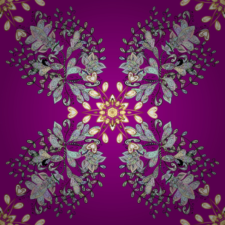 oriental vector: Seamless abstract background. Oriental vector classic magenta and golden pattern with white doodles. Illustration