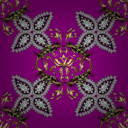 gold textured background: Openwork delicate golden pattern. Brilliant lace, stylized flowers, paisley. Seamless pattern on magenta background with gol elements. Vector oriental style arabesques. Seamless golden texture curls.