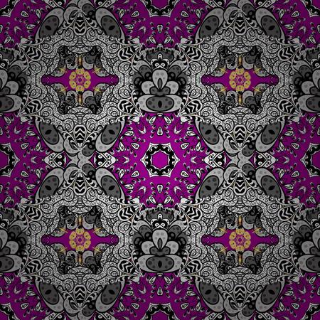 oriental vector: Islamic design. Floral tiles. Golden pattern on magenta background with golden elements. Seamless pattern oriental ornament. Vector golden textile print.