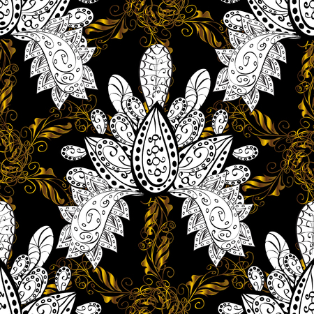 gold textured background: Floral ornament brocade textile pattern, glass, metal with floral pattern on black background with golden elements. Seamless classic vector golden pattern. Illustration
