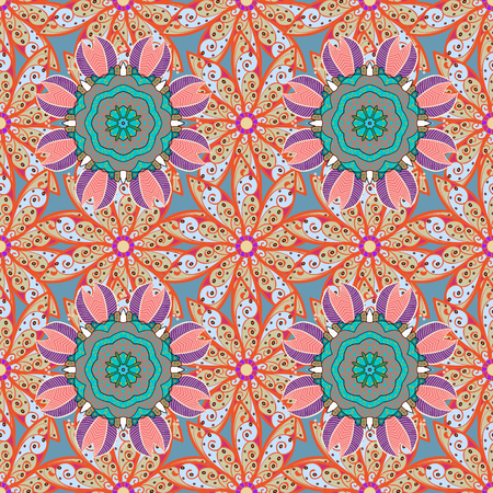 Textile print for bed linen, jacket, package design, fabric and fashion concepts. Abstract vector seamless pattern flower design in blue colors. Floral seamless pattern with watercolor effect.