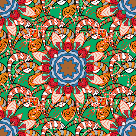 thai motifs: Vector Mandala colored on blue background. Abstract Tribal. Mandala pattern. Orient, symmetry lace, meditation symbol. East, Islam, Thai, Indian, ottoman motifs. Arabic Vintage decorative ornament.