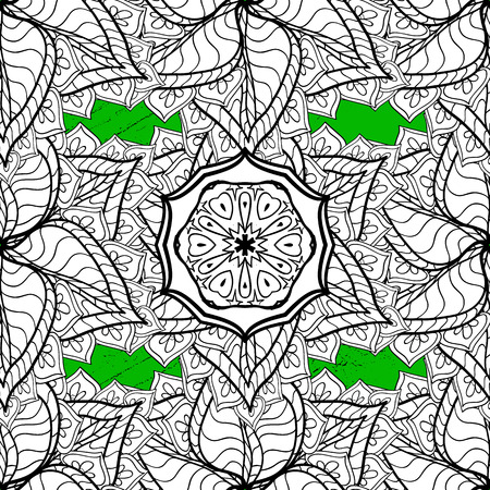 Brilliant lace, stylized flowers, paisley. Vector. Openwork delicate pattern. White texture curls. Oriental style arabesques. ?attern on green and white background with white elements.