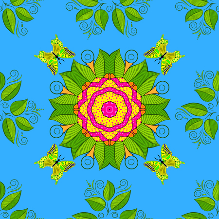 lace pattern: Vector Mandala. Colored round ornament pattern on a blue background.