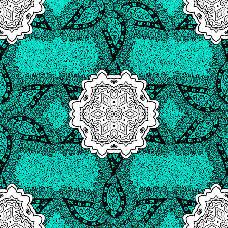 friso: Christmas, snowflake, new year. Vintage pattern on blue background with dark elements.