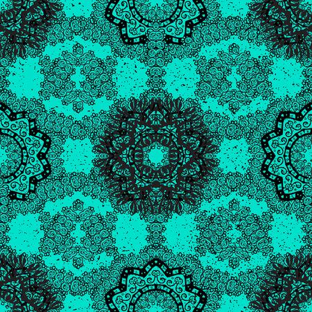 Dark pattern. Vector oriental ornament. Pattern on blue background with dark elements. Illustration