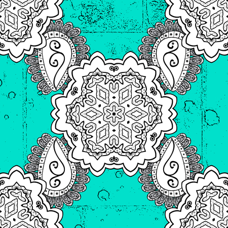 lace pattern: Pattern on blue background with dark elements. Dark texture curls. Brilliant lace, stylized flowers, paisley. Openwork delicate dark pattern. Oriental style arabesques. Vector. Illustration