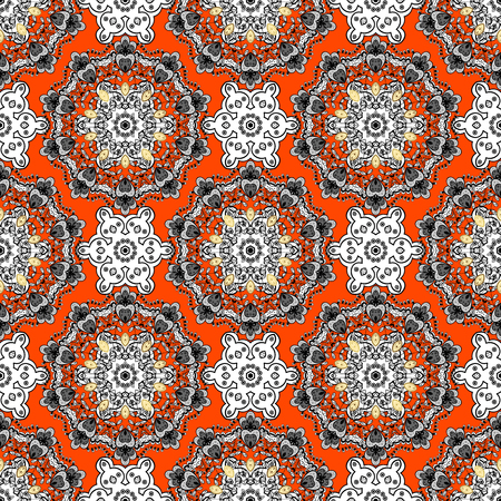 Seamless classic vector orange and golden pattern. Traditional orient ornament with white doodles. Classic vintage background.