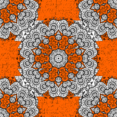 Damask background. White orange and white floral ornament in baroque style. Floral sketch. White element on orange background.