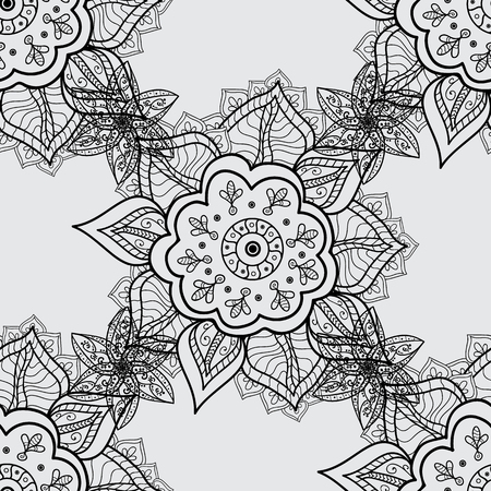 Vintage seamless pattern on a gray background with dim elements. Vector illustration.