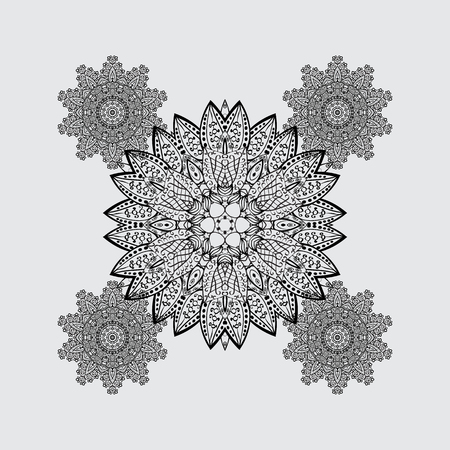 oriental vector: Oriental ornament in the style of baroque. Traditional classic vector dim. Gray background with dim elements.