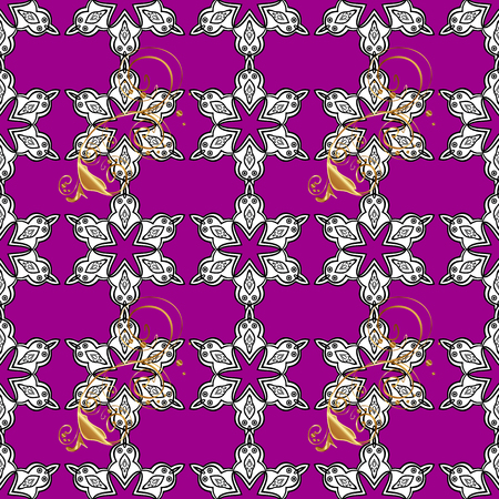 Vector golden pattern. Seamless golden textured curls in oriental style arabesques. Golden pattern on magenta background with white doodles.